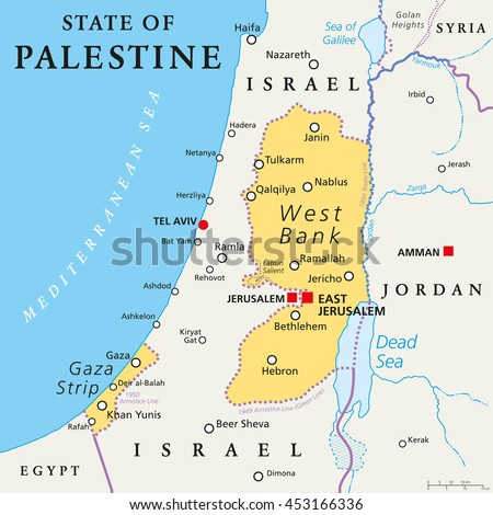 State Palestine Designated Capital East Jerusalem Stock Vector - Jerusalem on world map
