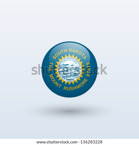 State of South Dakota flag circle form on gray background. Vector illustration. - stock vector