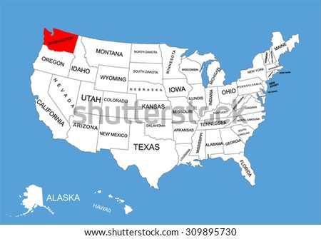 State Washington Usa Vector Map Isolated Stock Vector - Map of the state of washington usa