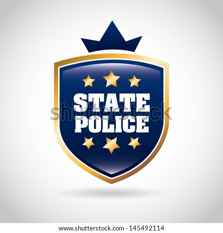 state police over gray background vector illustration  - stock vector