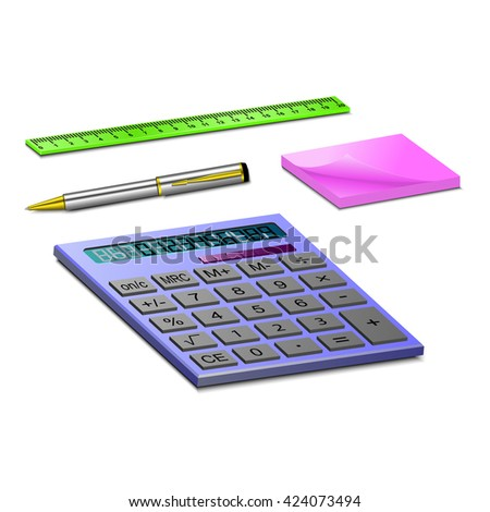 Stationary for school or work. set of stationary of calculator, ruler, pen and paper