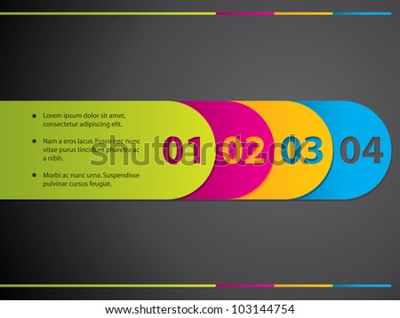 Stationary label set with numbers from 1 to 4 - stock vector