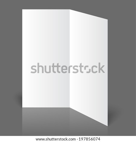 Stationary positioned blank two fold paper brochure on gray background. Open magazine.  - stock vector
