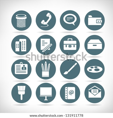 stationery and web apps icon set, button set - stock vector