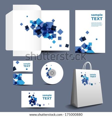 Stationery, Corporate Image Design with Blue Squares - stock vector