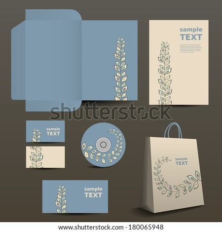 Stationery, Corporate Image Design with Organic Ornament Pattern - stock vector