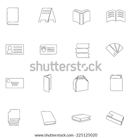 Stationery icon set line drawing by hand - stock vector