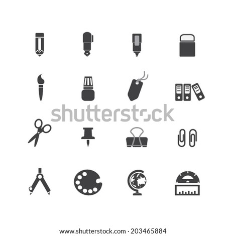 stationery icons - stock vector