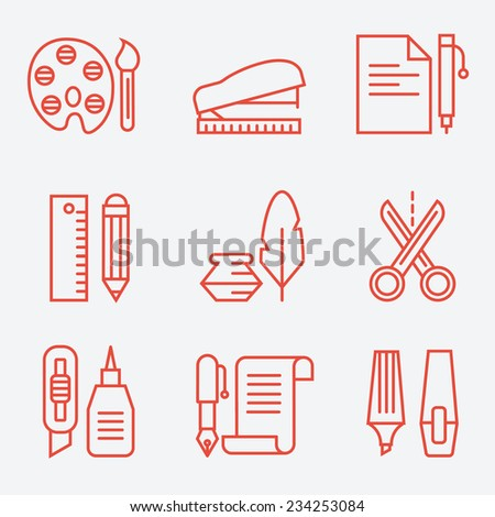 Stationery icons, thin line style, modern flat design - stock vector
