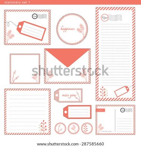 Stationery set 1 coral color stripe , paper, envelope - stock vector