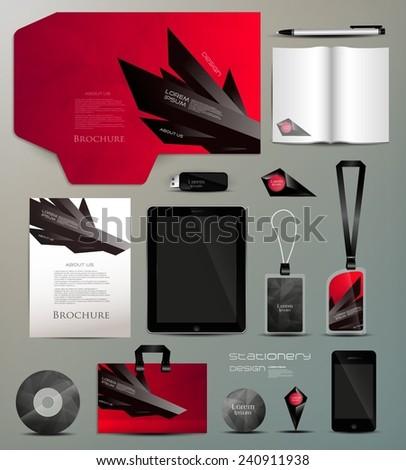 Stationery set design-geometric design - stock vector