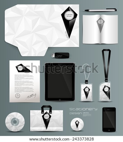 Stationery set design-identity template-modern-geometric-brochure - stock vector