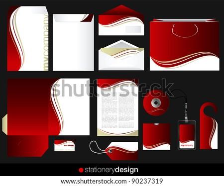 Stationery set design in editable vector format - stock vector