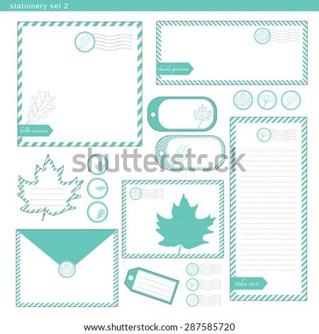 Stationery set 2 green leaf stripe , paper, envelope - stock vector