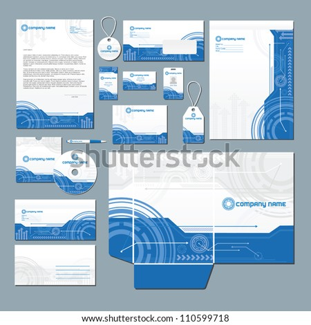 Stationery set with technology inspired illustration. All items are on separate layers for easy editing. - stock vector