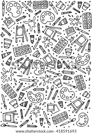 Stationery shop coloring book line art design vector illustration. Separate objects. Hand drawn doodle design elements
