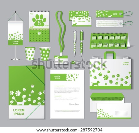 Stationery template design with animal footprint elements - vector illustration - stock vector