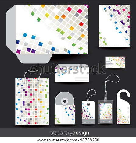 Stationery template design with card, cd and envelope in vector format - stock vector