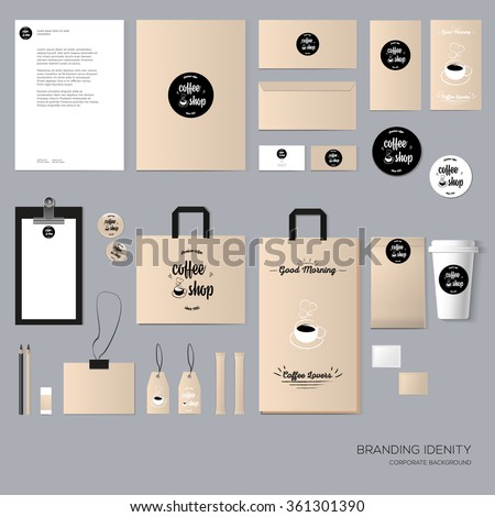 Stationery template design with coffee house elements. With blank, name card, envelope, paper bag,  badge, tag, menu, flyer, paper cup, sugar, etc. Vector illustration modern design - stock vector