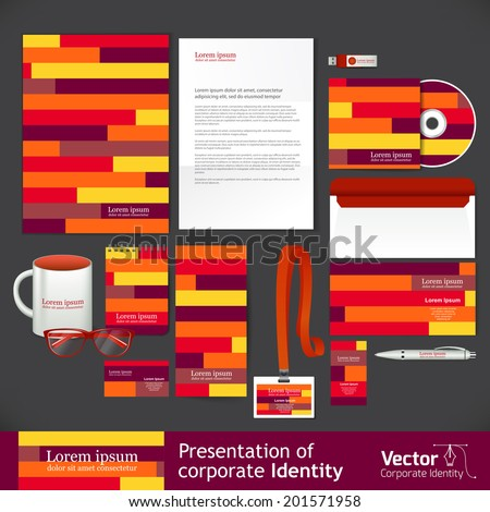Stationery template design with line elements - stock vector