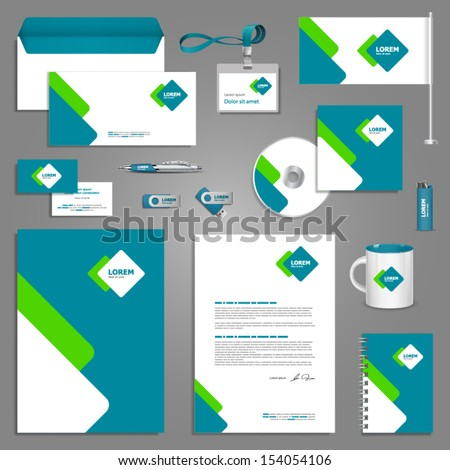 Stationery Template Design Square Elements Documentation Stock ...