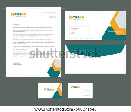 Stationery template element company branding business stock vector stationery template with element company branding business card envelope leaflet letterhead reheart Image collections
