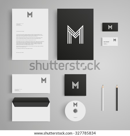 Stationery template with letter M logo. Corporate, identity, company, branding, cd, business card, envelope, leaflet, letterhead, folder. Clean and modern style - stock vector