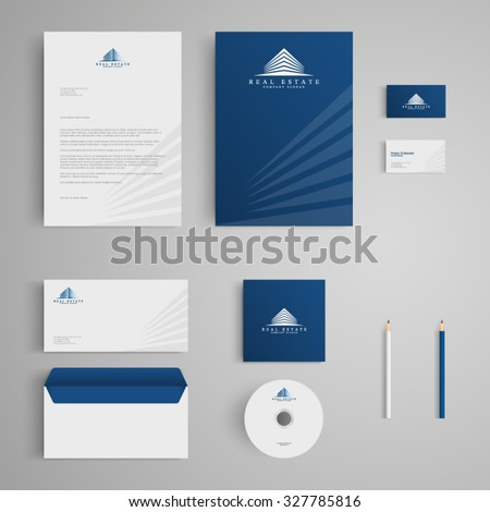 Stationery template real estate logo apartment stock vector stationery template with real estate logo apartment house rental condo corporate spiritdancerdesigns Image collections