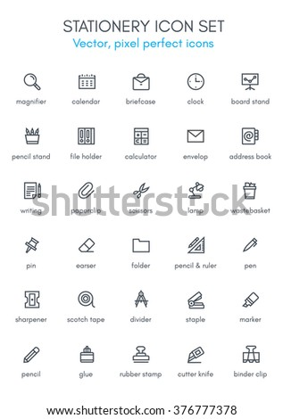 Stationery theme line icon set. Pixel perfect fully editable vector icon suitable for websites, info graphics and print media. - stock vector