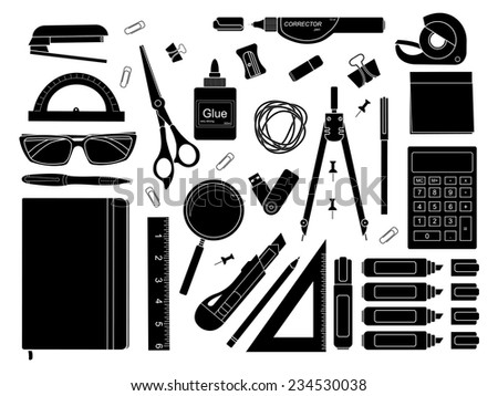 Stationery tools: marker, paper clip, pen, binder, clip, ruler, glue, zoom, scissors, stapler, corrector, glasses, pencil, calculator, eraser, knife, compasses, protractor, black and white colors - stock vector