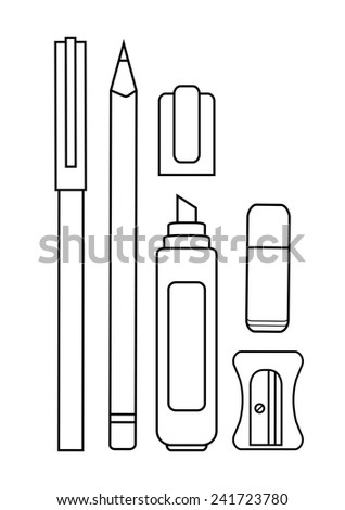 Stationery writing tools set. Pen, pencil, yellow marker, eraser, sharpener. Vector contour lines clip art illustration isolated on white  - stock vector