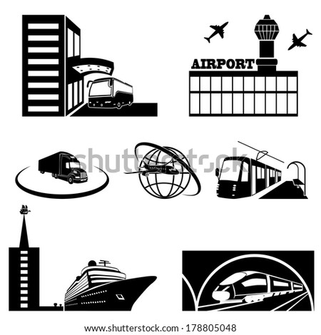 Stations of public transport in perspective - vector illustration - stock vector