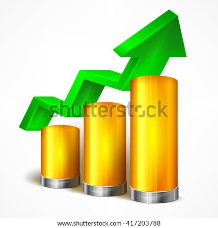 Statistic chart with arrow on white vector illustration.  - stock vector