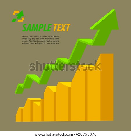Statistic chart with arrow text on grey vector illustration. Icon for business, growth, business infographic element. - stock vector