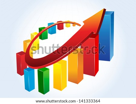 Statistic charts, surrounded by arrow - stock vector