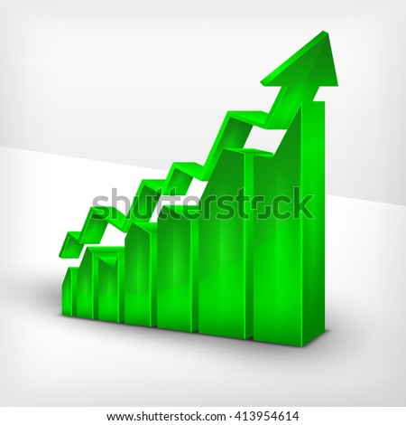 Statistic green chart with arrow on white. Icon for business, Vector illustration - stock vector