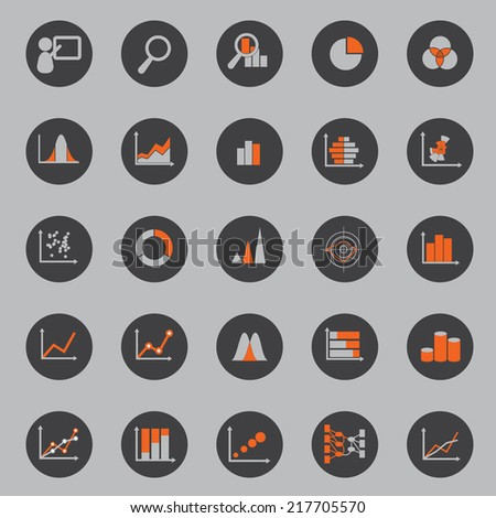 Statistic Icon Circle Background - stock vector