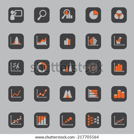 Statistic Icon Square Background - stock vector