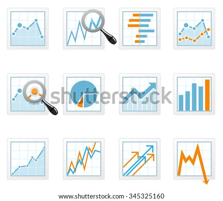 Statistics and analytics data icons with diagrams - stock vector