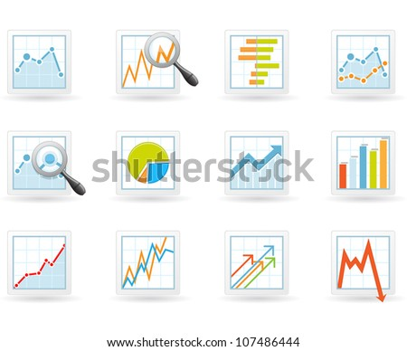 Statistics and analytics icons - stock vector