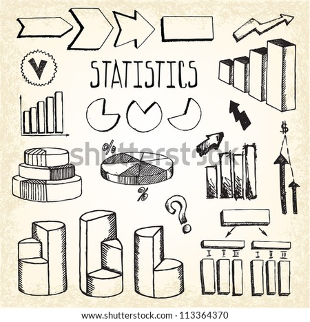 Statistics and Graphs Doodles - stock vector