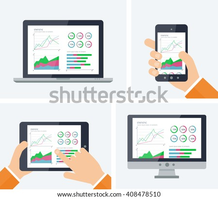 Statistics. Flat vector infographic with graphs and charts elements on devices screens. Finance statistics report, business statistics, mobile app ui kit, modern technology. Analytics process concept - stock vector