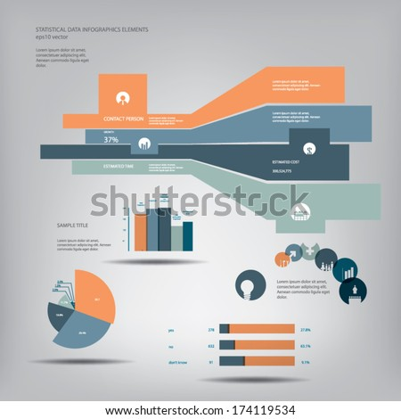 Statistics icons and charts set in flat design suitable for infographics, presentations, etc. Eps10 vector illustration. - stock vector