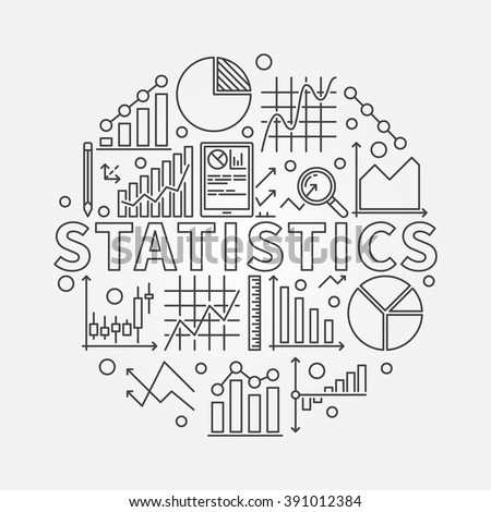 Statistics subject illustration - vector round symbol made of word Statistics and statistic thin line signs: graph, chart, diagram - stock vector