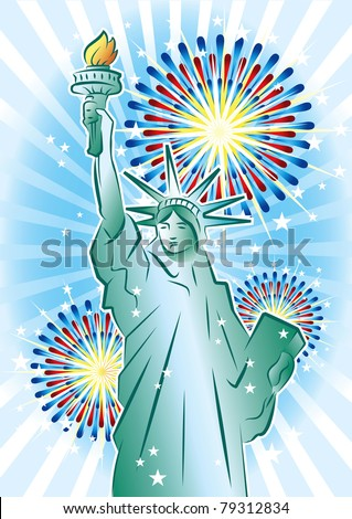 Statue of Liberty and fireworks - stock vector