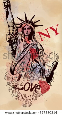 Statue of Liberty and Love NY doodle on watercolor drops - stock vector