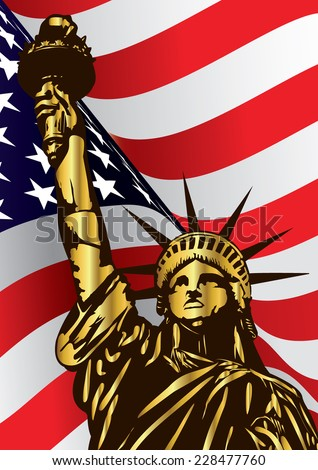 Statue of Liberty and U.S.A flag - vector - stock vector