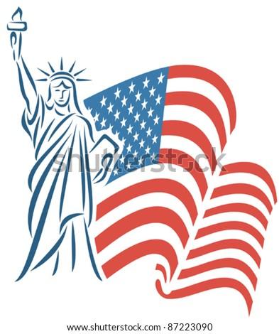 Statue of Liberty and USA flag - stock vector