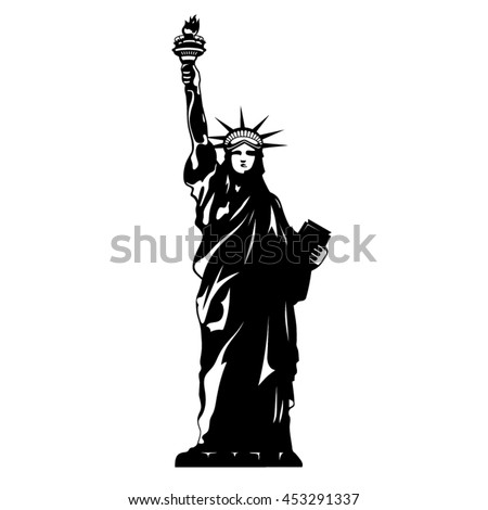 Statue Of Liberty Black And White New York Vector Silhouette