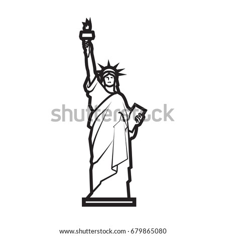 Drawing statue liberty vector stock vector 491718742 for Statue of liberty drawing template